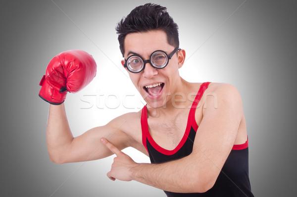 Funny boxeador aislado blanco deporte fitness Foto stock © Elnur