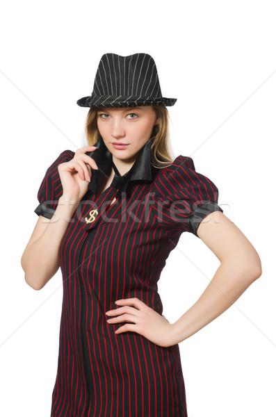 Vrouw gangster geïsoleerd witte meisje sexy Stockfoto © Elnur