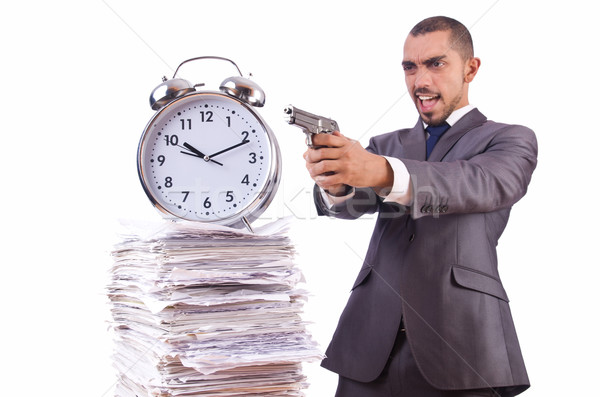 Angry businessman with stack of papers Stock photo © Elnur