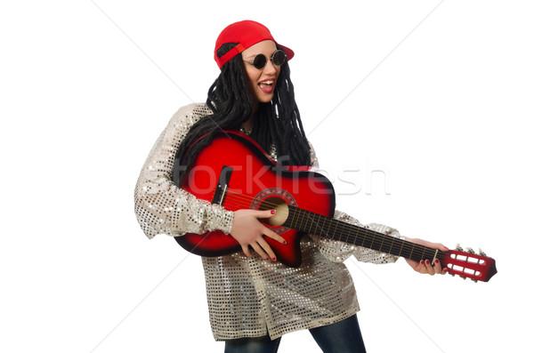Vrouw gitarist geïsoleerd witte muziek partij Stockfoto © Elnur
