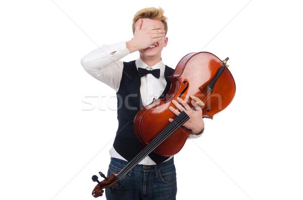 Stock fotó: Vicces · férfi · hegedű · fehér · művészet · koncert