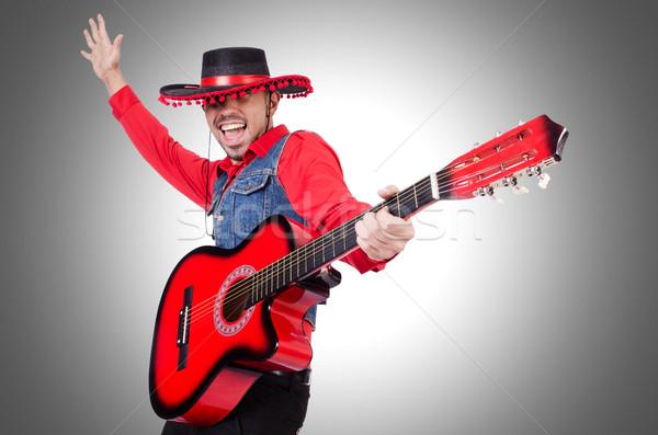 Gitarist geïsoleerd witte partij fase jonge Stockfoto © Elnur