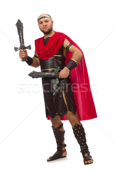 Gladiator miecz odizolowany biały czerwony mięśni Zdjęcia stock © Elnur
