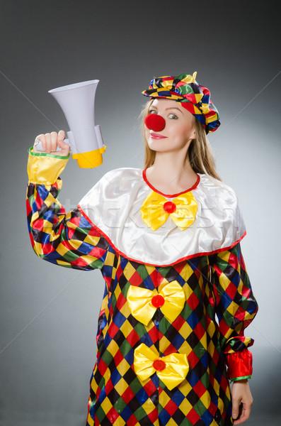 Clown haut-parleur isolé blanche sourire fête Photo stock © Elnur