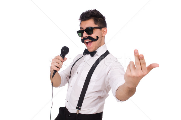 Stock photo: Funny man with mic isolated on white