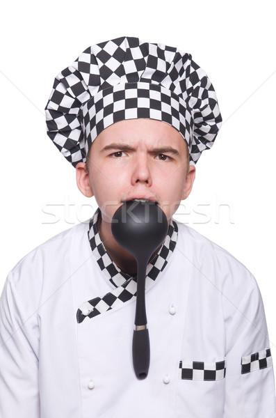 Jóvenes chef uniforme aislado blanco modelo Foto stock © Elnur