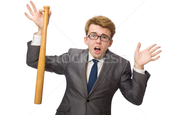 Young businessman with baseball bat isolated on white Stock photo © Elnur