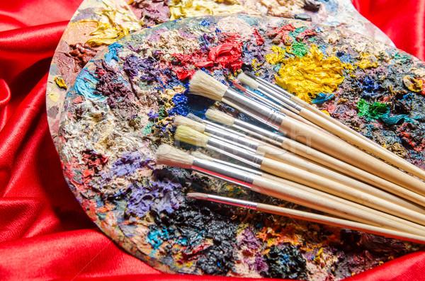 ストックフォト: アーティスト · パレット · 芸術 · 水 · 学校 · 塗料