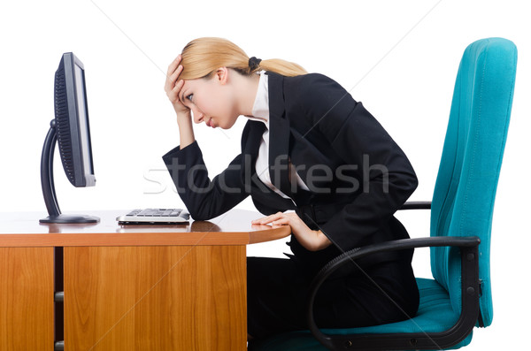 Woman businesswoman working isolated on white Stock photo © Elnur