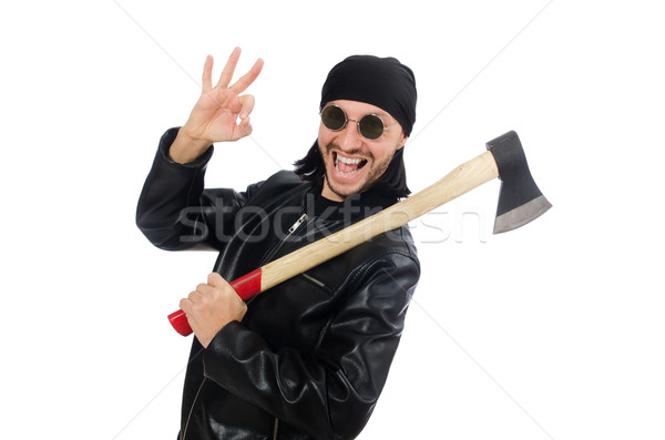 Angry man with axe isolated on white Stock photo © Elnur