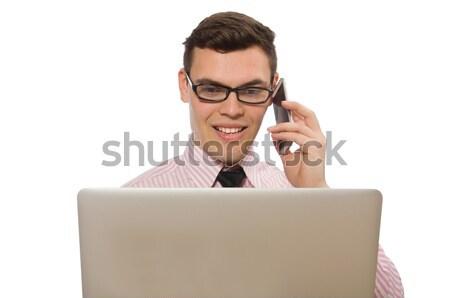 Ofis işçi tabanca yalıtılmış beyaz bilgisayar Stok fotoğraf © Elnur