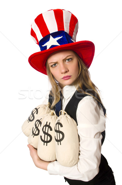 Woman with money sacks isolated on white Stock photo © Elnur