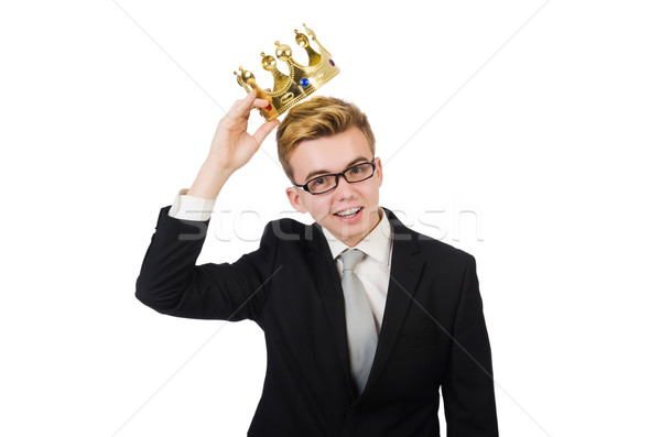 Young businessman with crown isolated on white Stock photo © Elnur