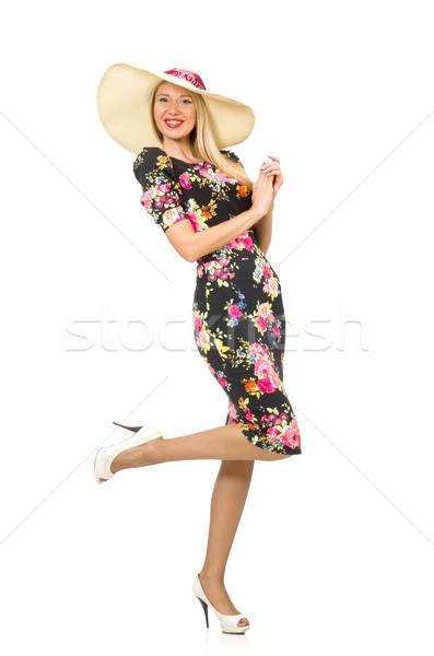 Cute blond meisje jurk geïsoleerd Stockfoto © Elnur