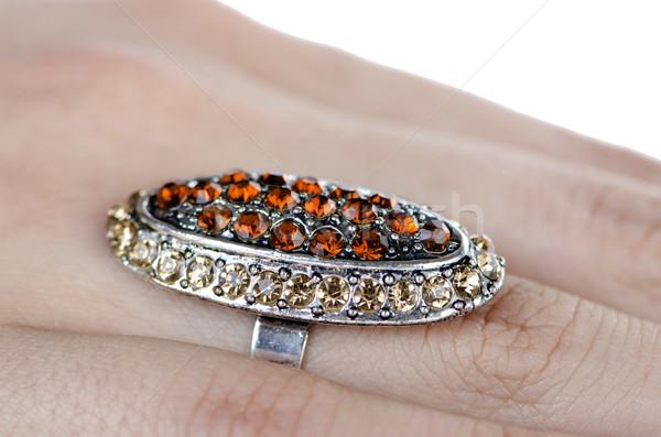 ювелирных кольца изолированный белый стороны цепь Сток-фото © Elnur
