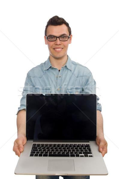 Jonge mannelijke student geïsoleerd witte laptop Stockfoto © Elnur