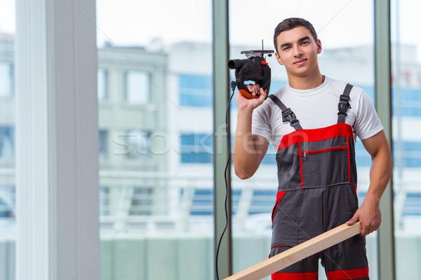 Jungen Zimmermann arbeiten Baustelle Hand Mann Stock foto © Elnur