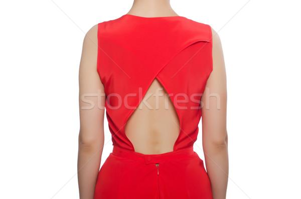 Piros hosszú estélyi ruha izolált fehér csinos Stock fotó © Elnur