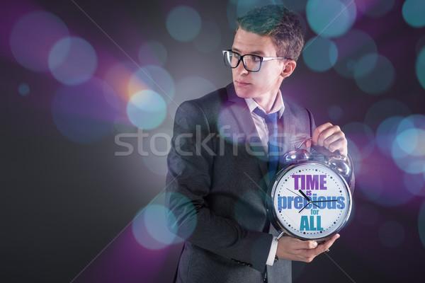 Jovem empresário tempo importância relógio executivo Foto stock © Elnur
