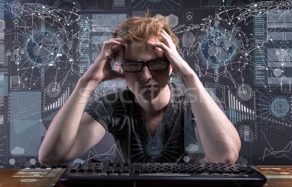 Jovem segurança de dados internet segurança teia Foto stock © Elnur