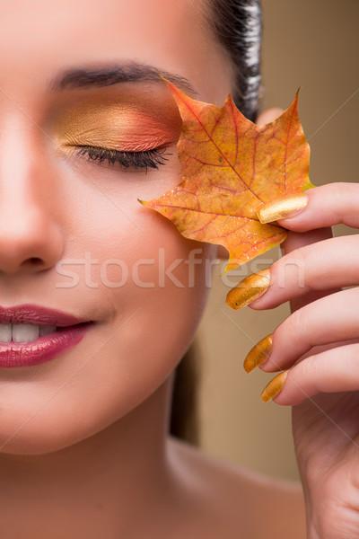 Bela mulher outono secar folhas mulher mão Foto stock © Elnur