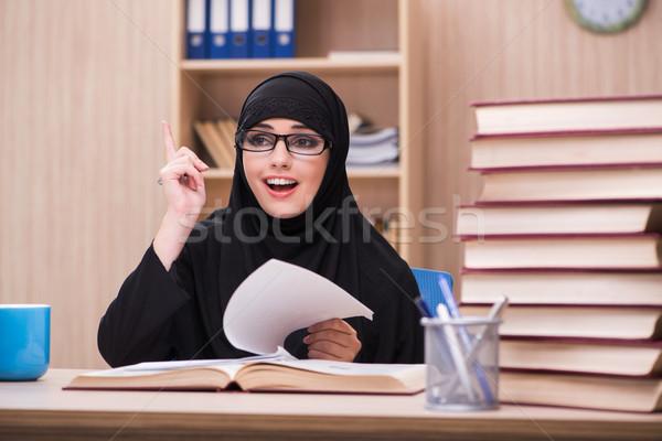 Woman muslim student preparing for exams Stock photo © Elnur