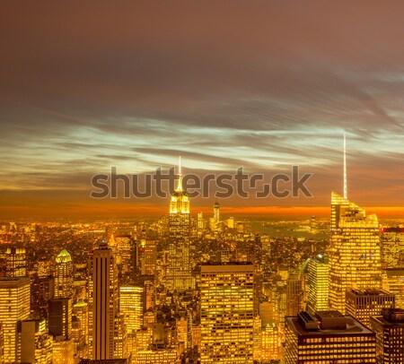 Vue nouvelle Manhattan coucher du soleil affaires ciel Photo stock © Elnur