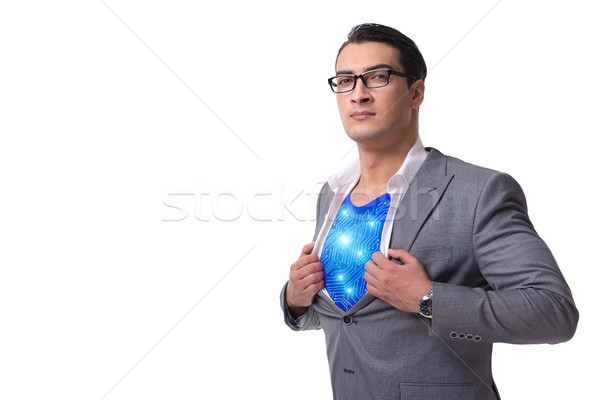Businessman in superhero concept isolated on white Stock photo © Elnur