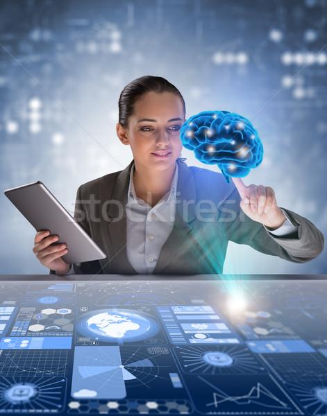 деловая женщина искусственный интеллект компьютер женщину науки мозг Сток-фото © Elnur