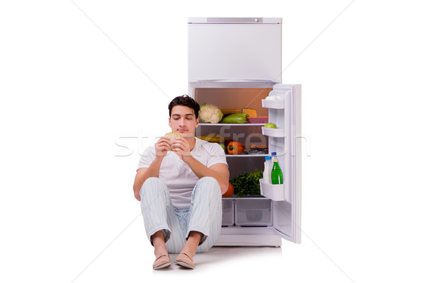 Hombre nevera completo alimentos casa feliz Foto stock © Elnur