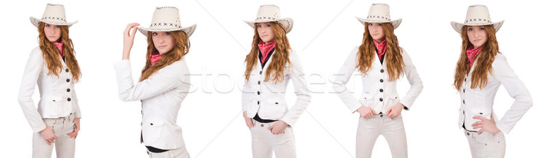 Young cowgirl isolated on white Stock photo © Elnur