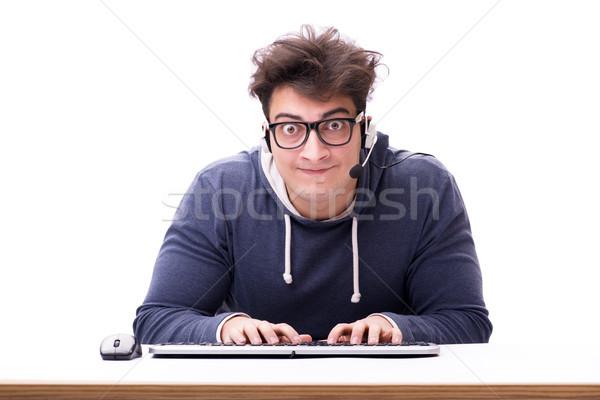 Foto d'archivio: Divertente · nerd · uomo · lavoro · computer · isolato