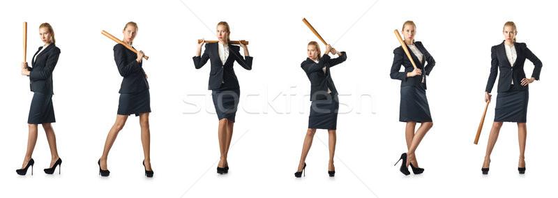 деловая женщина бейсбольной битой белый бизнеса служба работу Сток-фото © Elnur