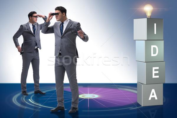ストックフォト: ビジネスマン · 見える · 明るい · 考え · 手 · 光
