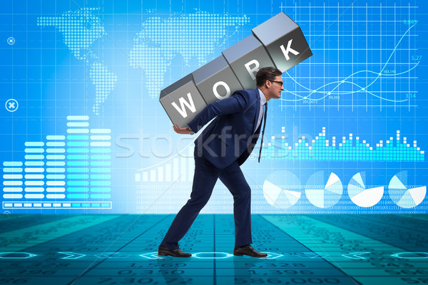 Businessman working too hard in business concept Stock photo © Elnur