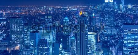 Vue New York Manhattan coucher du soleil affaires ciel Photo stock © Elnur