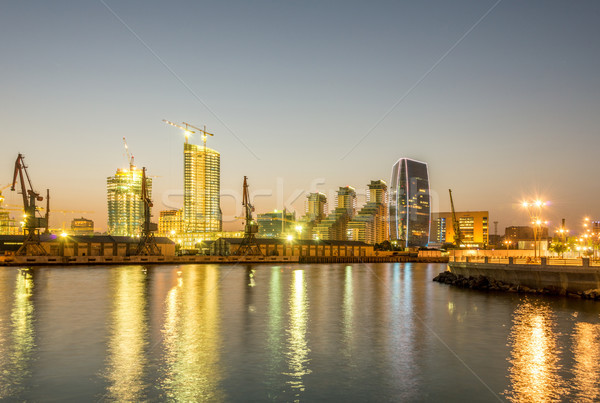 Night view of sea port in Baku Azerbaijan Stock photo © Elnur