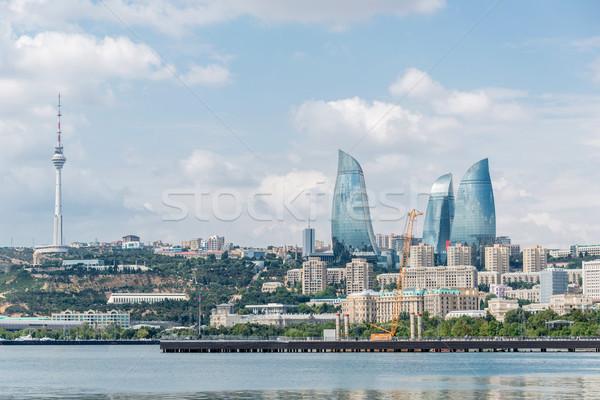 Nap kilátás Azerbajdzsán építészet sziluett felhőkarcoló Stock fotó © Elnur