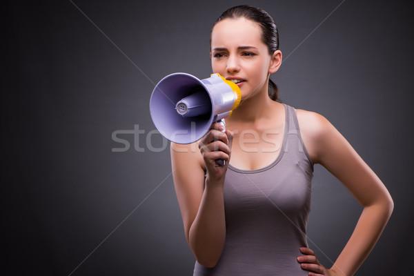 Nő sportok hangfal egészség tornaterem hangszóró Stock fotó © Elnur