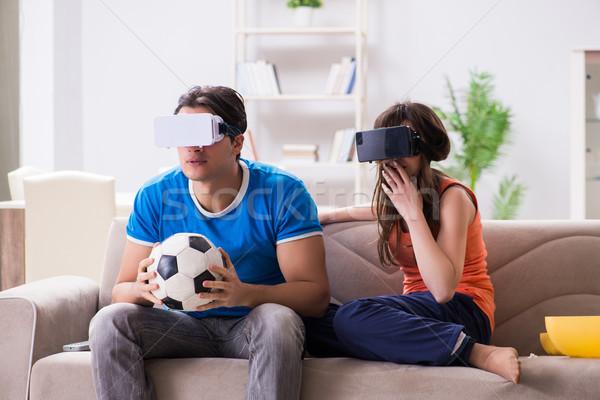 человека смотрят футбола виртуальный реальность очки Сток-фото © Elnur