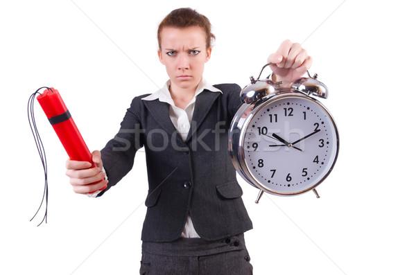 Femme d'affaires dynamite horloge affaires fille fond Photo stock © Elnur