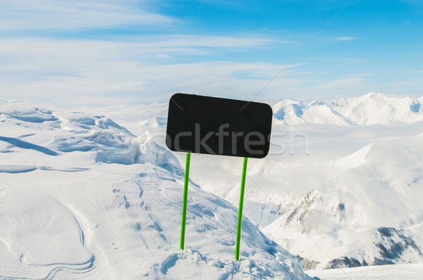 Stock photo: Winter mountains with blank sign