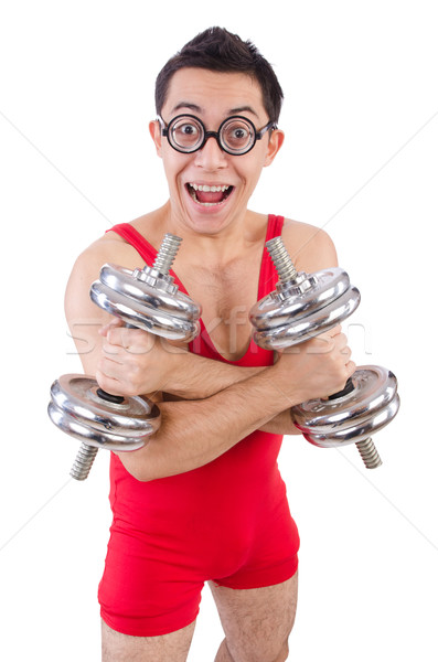 Funny guy exercising with dumbbells on white Stock photo © Elnur