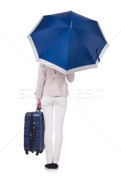 Zdjęcia stock: Kobieta · wakacje · walizkę · biały · dziewczyna · szczęśliwy