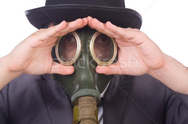 Stok fotoğraf: Işadamı · gaz · maskesi · yalıtılmış · beyaz · yüz