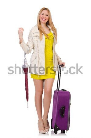 Woman travel attendant with suitcase on white Stock photo © Elnur