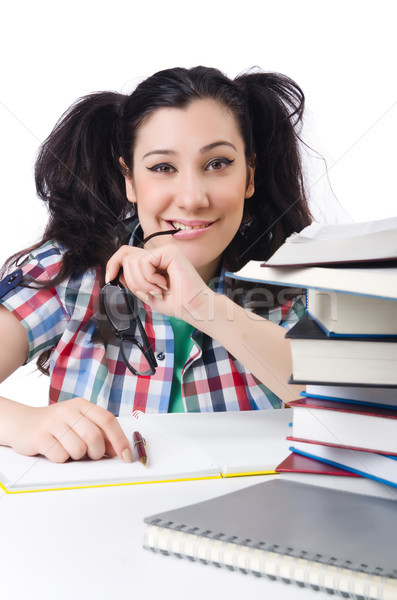 Fáradt diák tankönyvek fehér mosoly könyvek Stock fotó © Elnur
