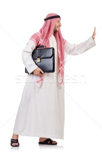 Arab businessman  with briefcase  pushing away virtual obstacle  Stock photo © Elnur