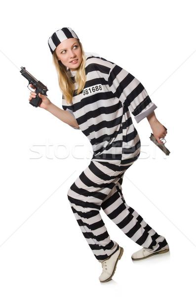 Börtön bennlakó fegyver izolált fehér törvény Stock fotó © Elnur
