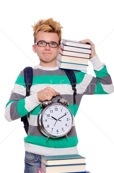 Student vermist deadlines geïsoleerd witte glimlach Stockfoto © Elnur